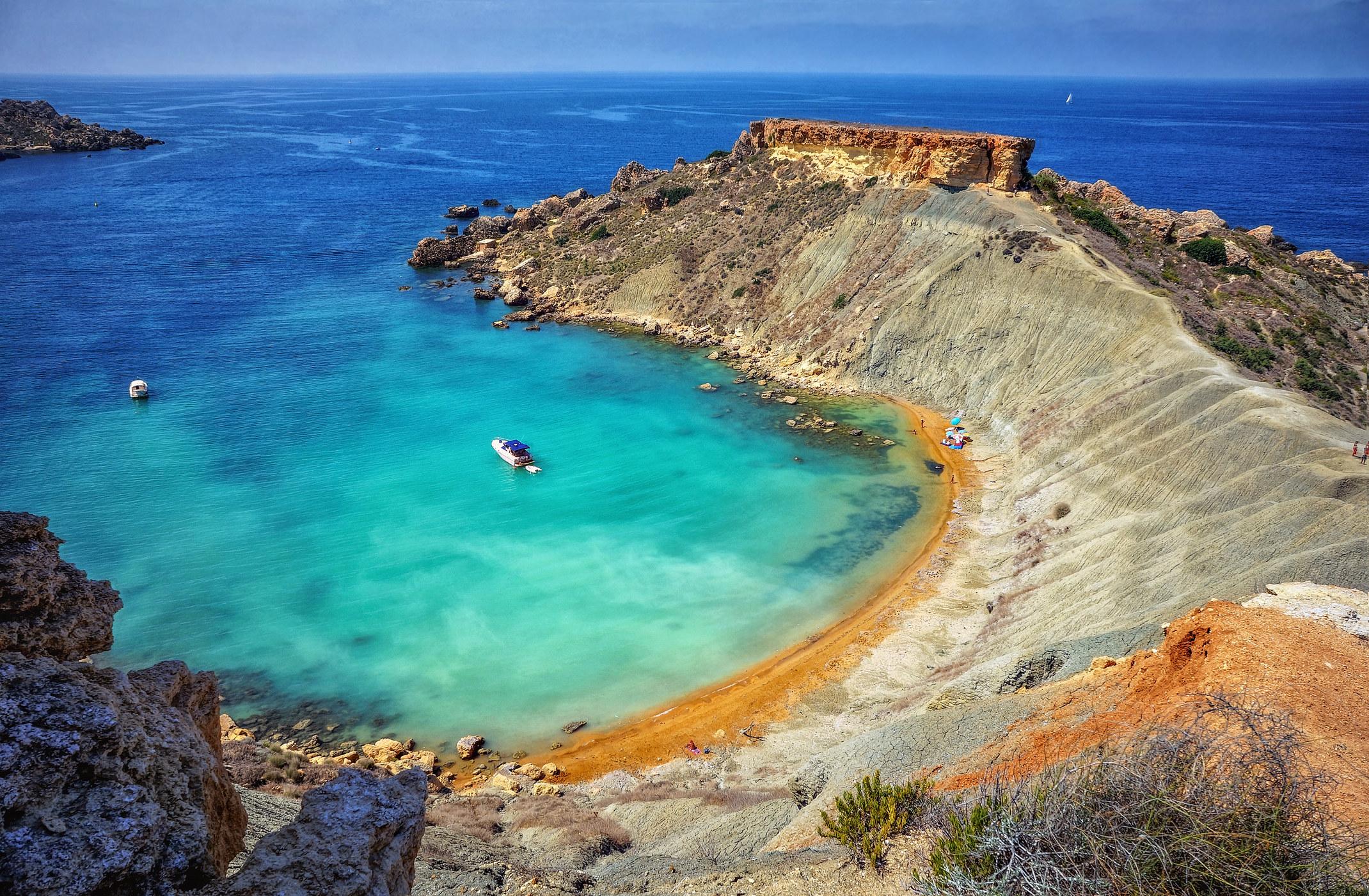 Pristine Gnejna Bay in Malta.