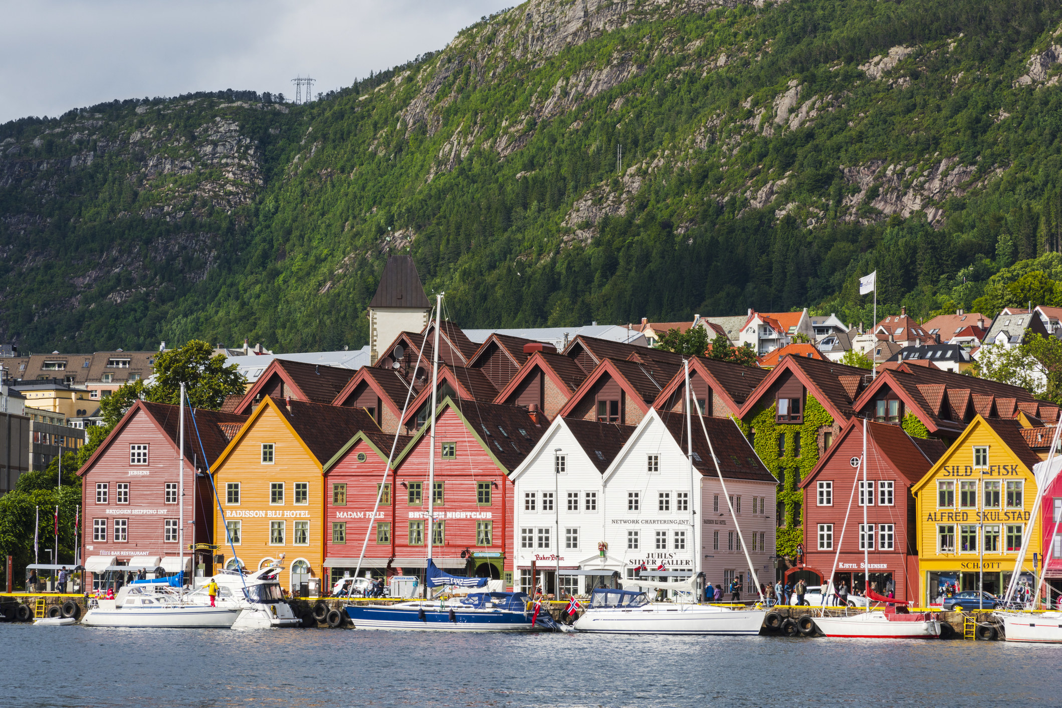 A harbor with colorful houses in Bergen, Norway.