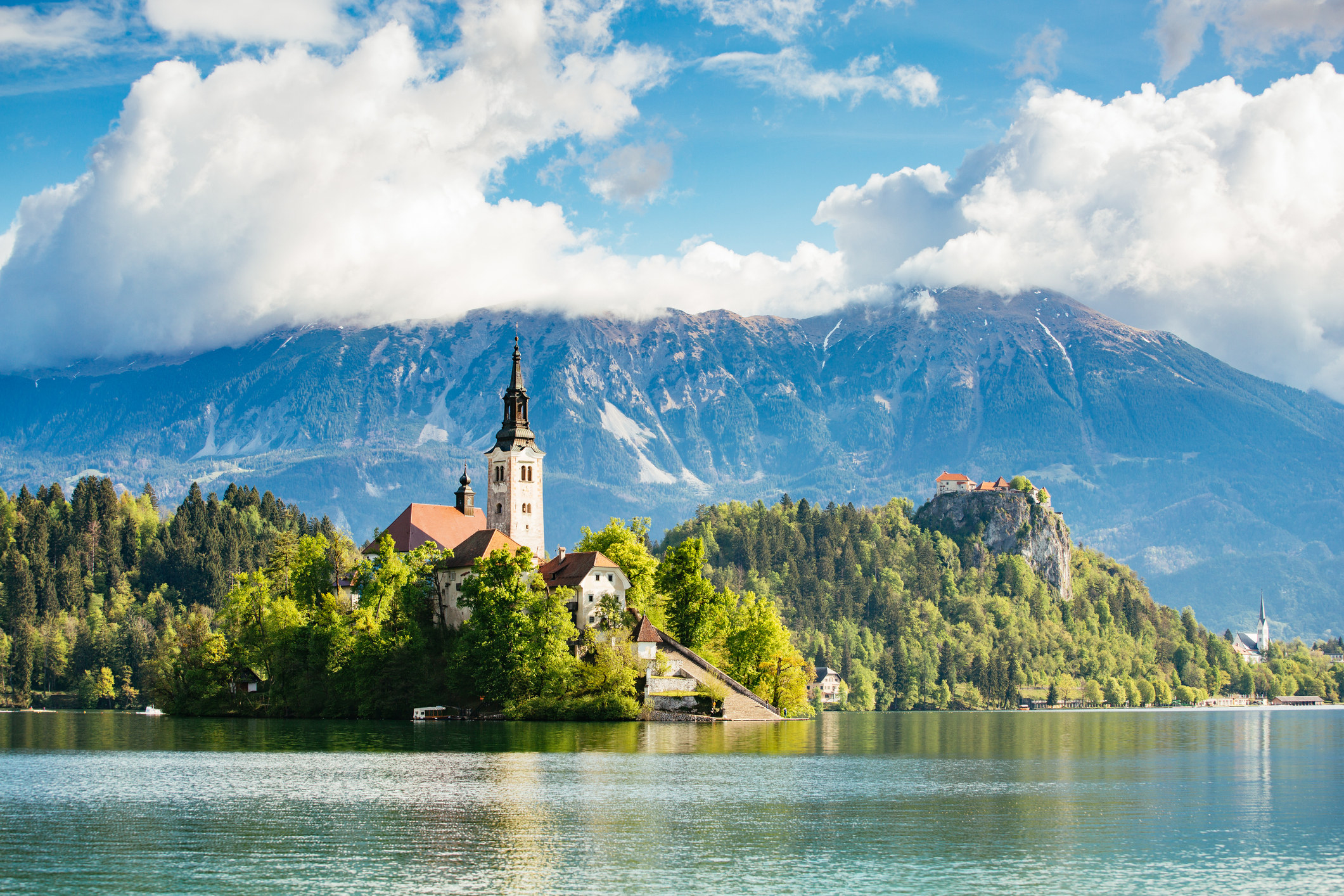 An iconic view of Lake Bled in Slovenia.