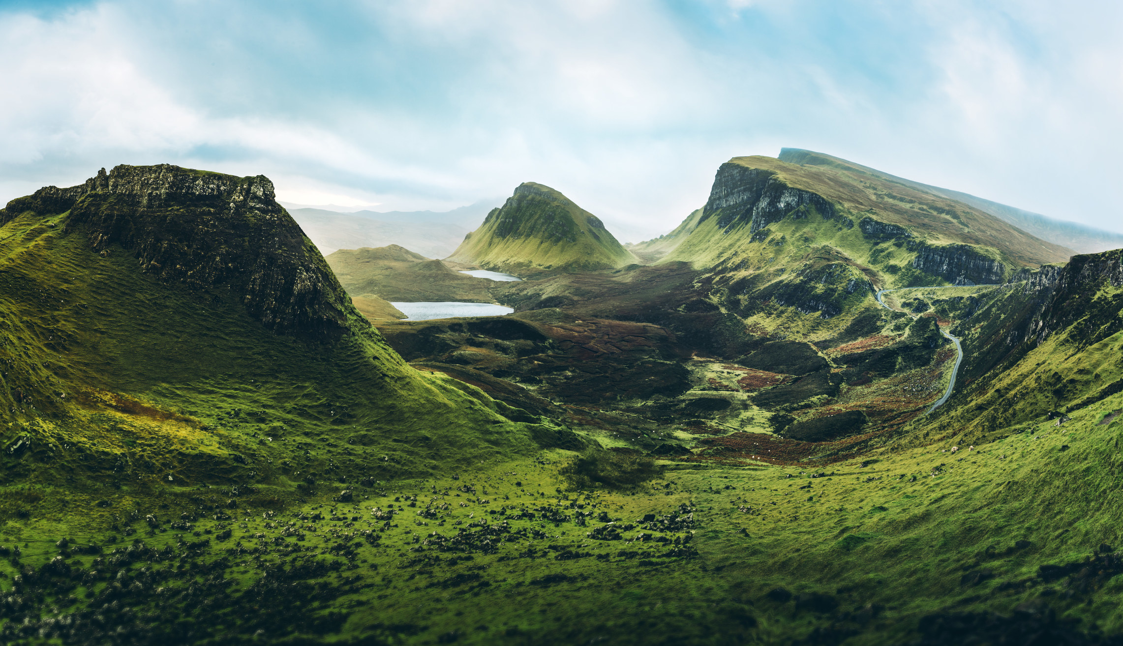A lush, jutting mountain landscape on the Isle of Skye.