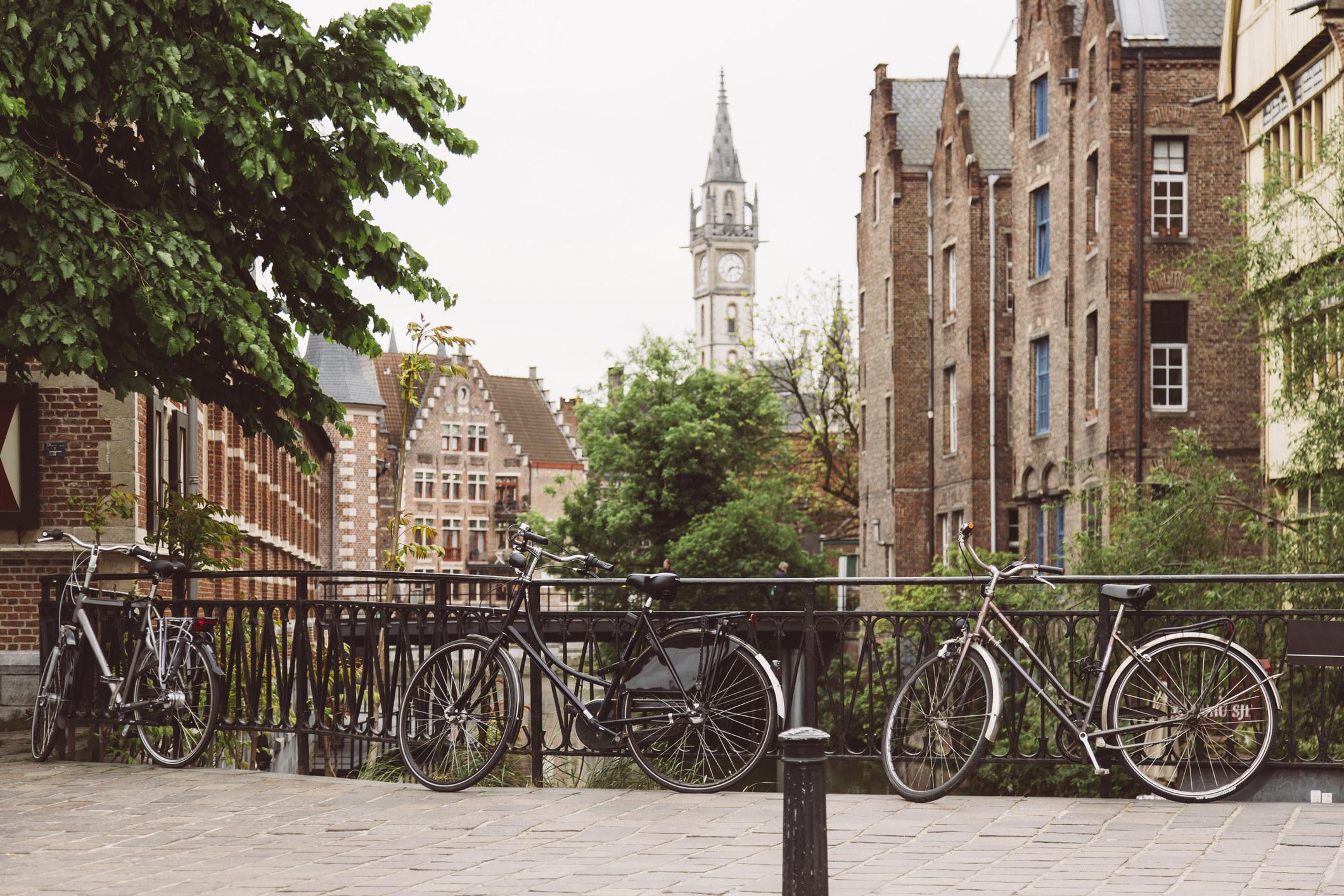 Bikes near a canal in Ghent, Belgium.
