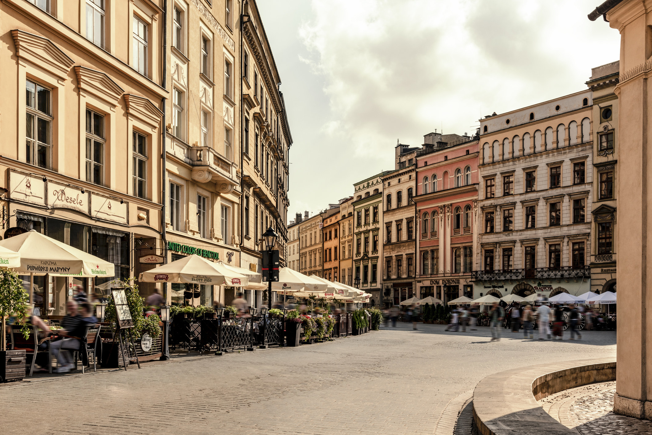 Town houses in the Main Square in Krakow, Poland.
