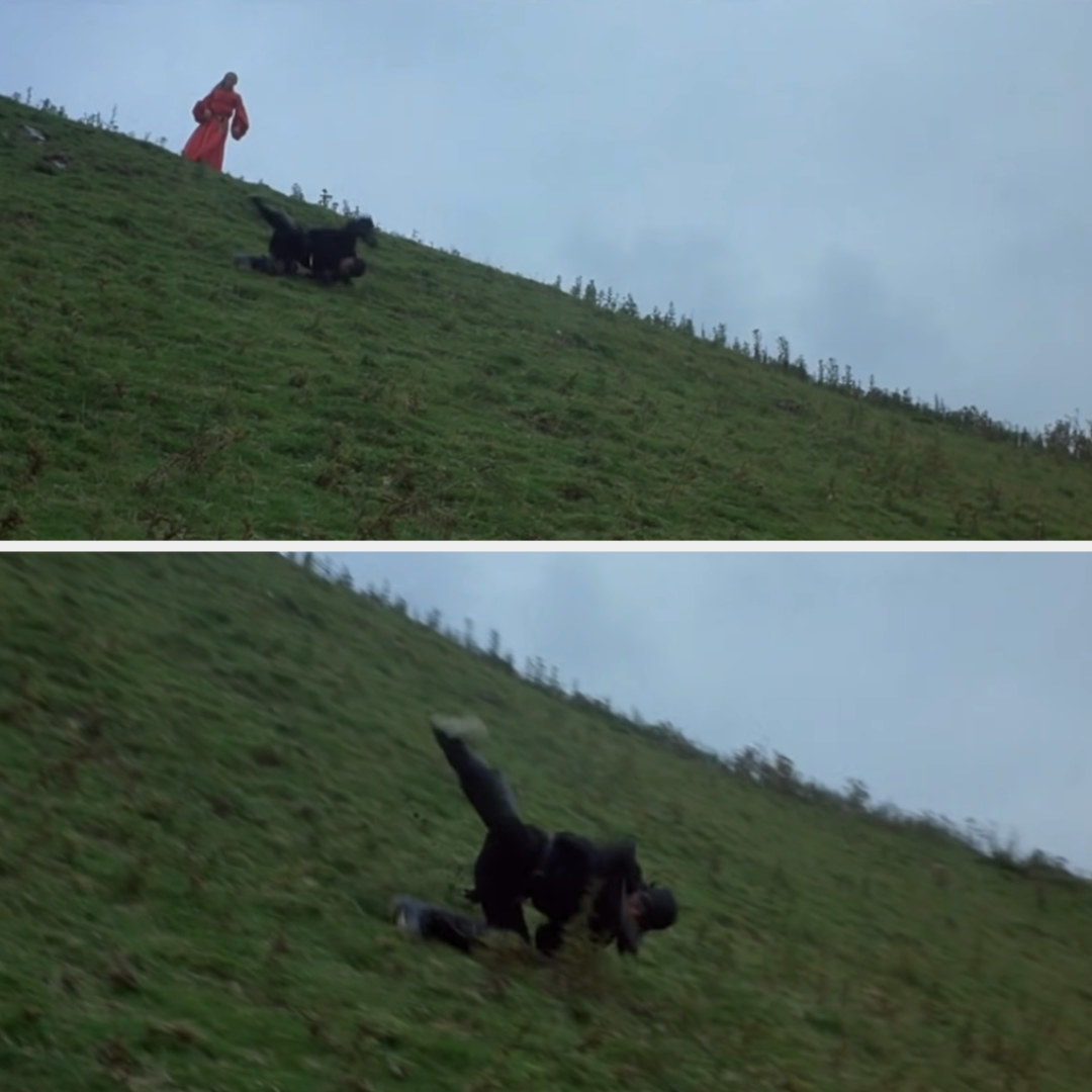 Westley rolls down a hill while Buttercup watches