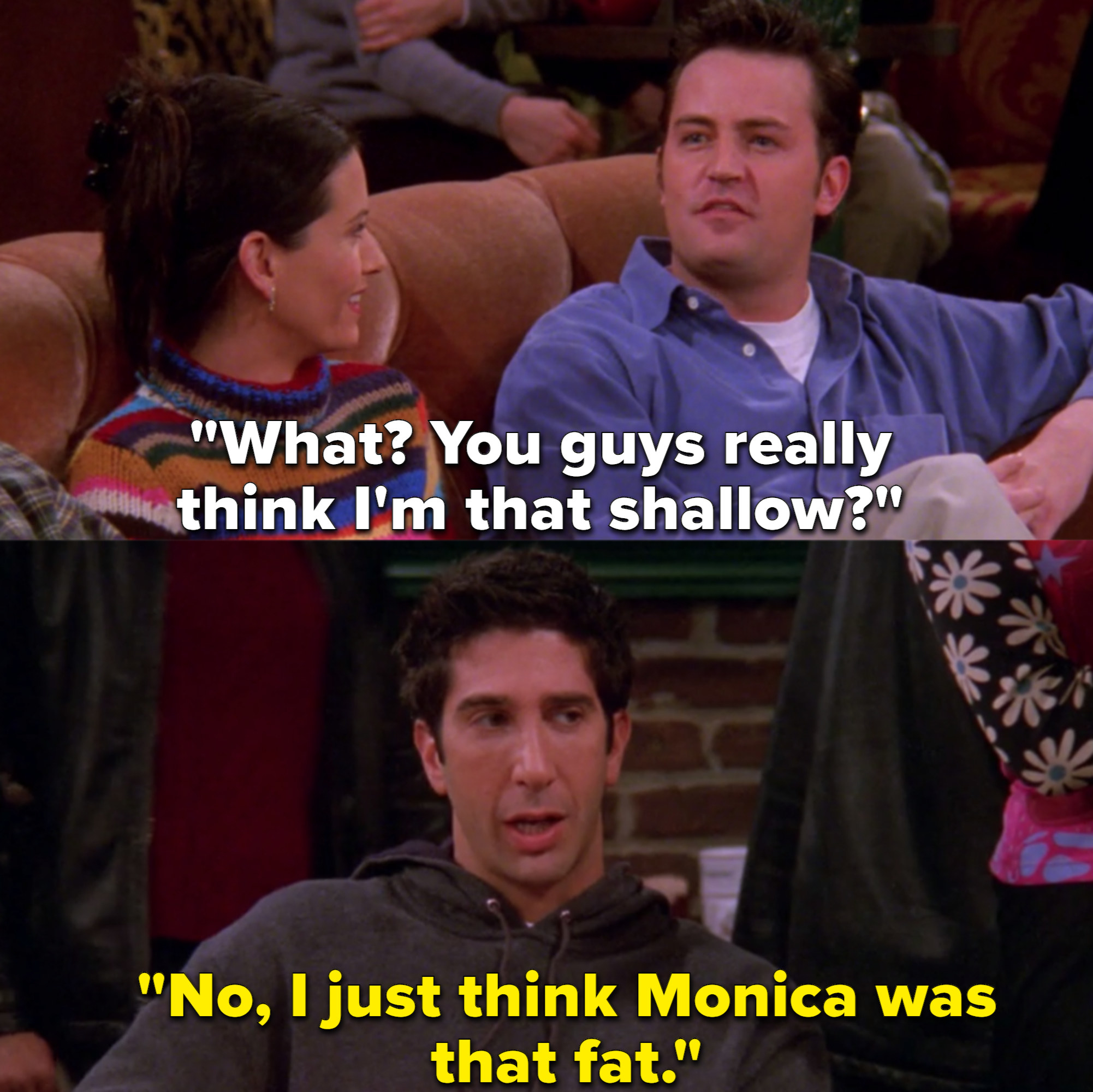 Chandler sits next to Monica on the coffee shop couch as Ross sits next to them at a free standing table