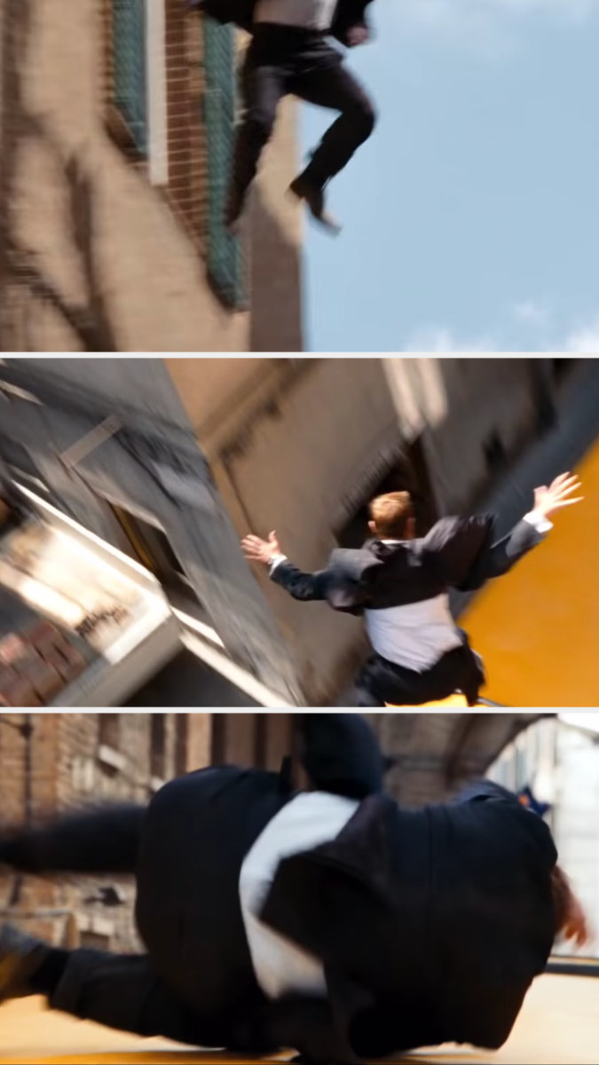 Bond jumps onto a moving bus