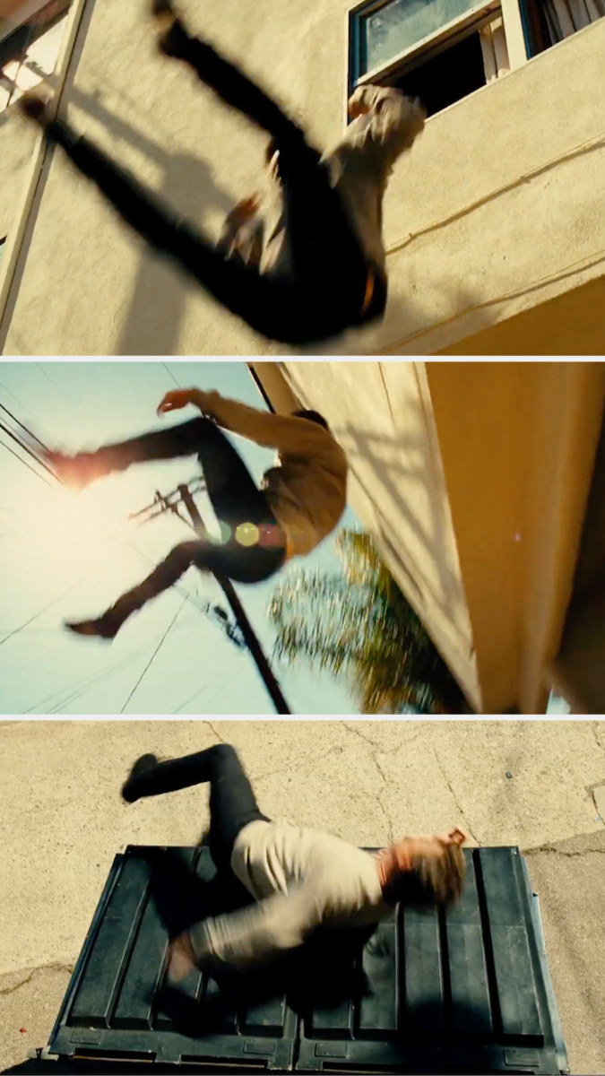 Liam Neeson's character jumping out of a window