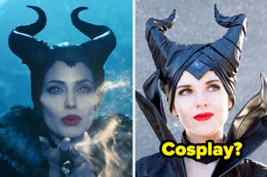Angelina Jolie as Maleficent and a woman cosplaying as her