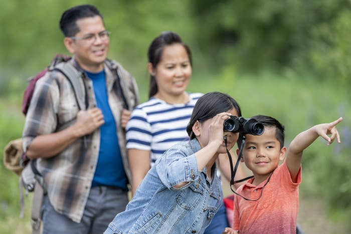A family going birdwatching