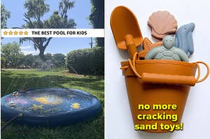 left image: kid's pool mat, right image: aesthetic silicone sand toys