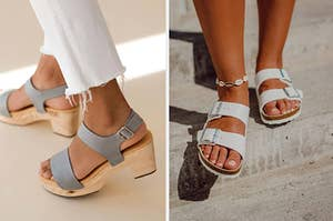 to the left: a model in gray chunky heels, to the right: a model in white birkenstocks