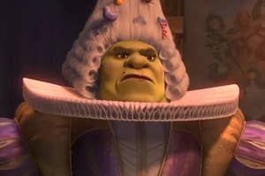 shrek in a wig and 1900s garb