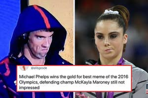 Michael Phelps with his iconic grumpy face next to McKayla Maroney's unimpressed face