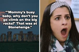 Stonehenge and a reaction image of a shocked woman with the caption: