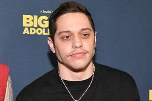 Pete Davidson is photographed at a movie premiere in 2020