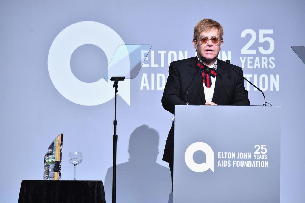 Elton speaking at an Elton John AIDS Foundations event