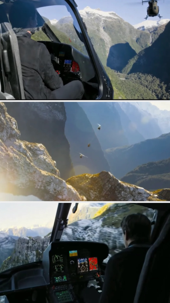 Tom Cruise chasing another helicopter in his own helicopter