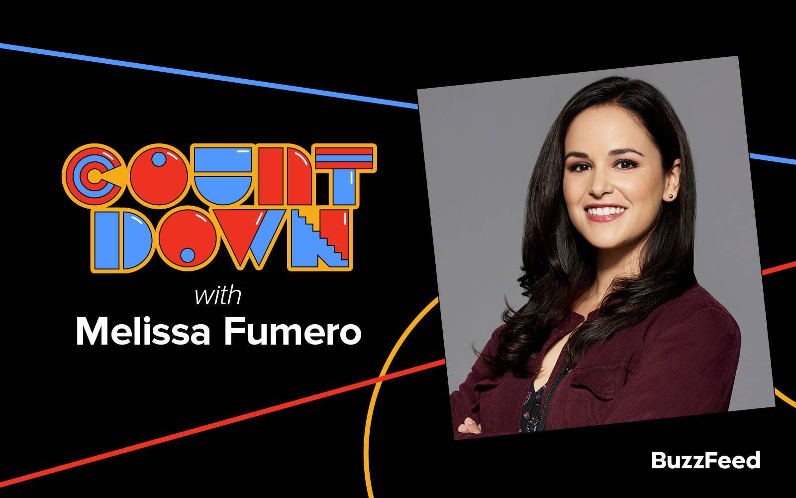 "A header reading, ""Countdown with Melissa Fumero"""