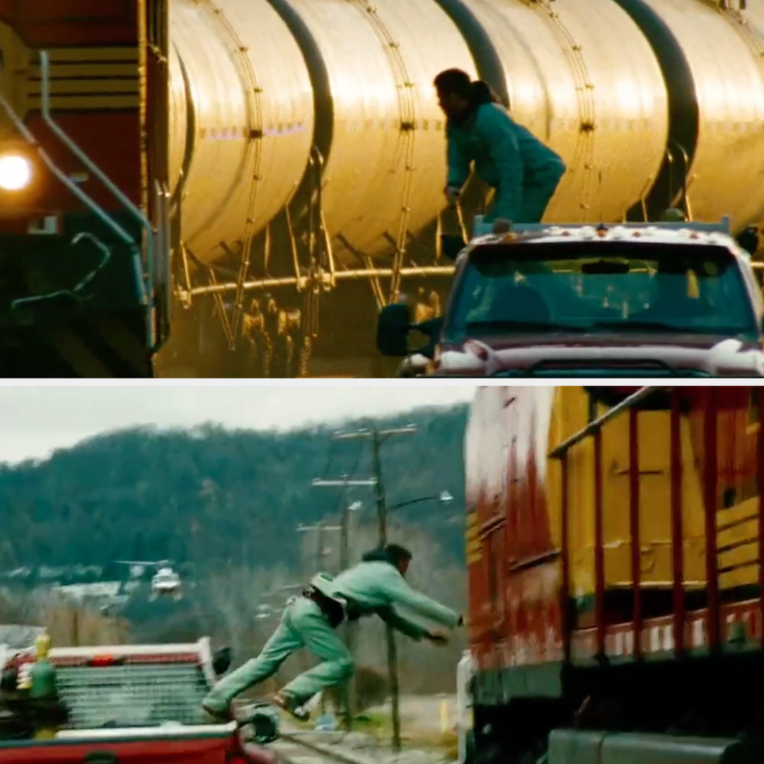 Chris Pine's double leaps onto the moving train
