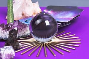 crystal ball and crystals