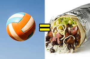 a volleyball and a burrito