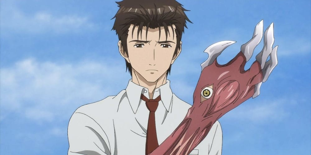 animated man wears a button down and tie, but holds his hand up and it has an eyeball in the palm, sharp nails