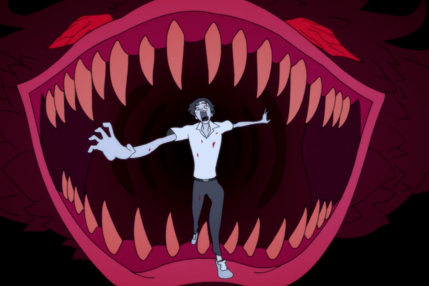 animated man wears a polo and pants, runs out of a mouth with sharp teeth