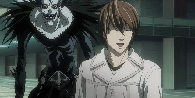 animated demon smiles behind an animated man wearing a trenchcoat