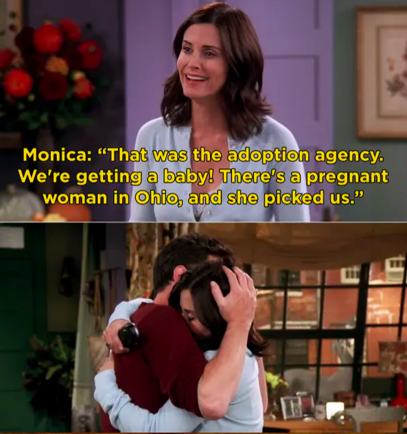 Monica tells Chandler they're adopting a baby