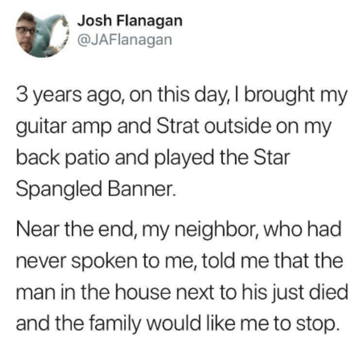 tweet about someone playing guitar loudly during a moment of grieviing for their neighbors