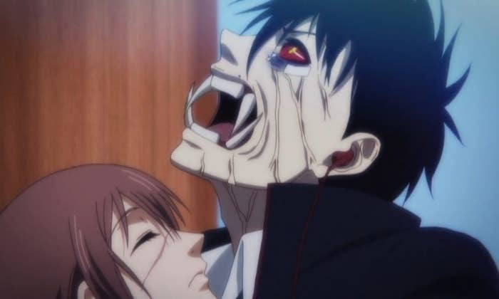 animated demon about to bite a woman