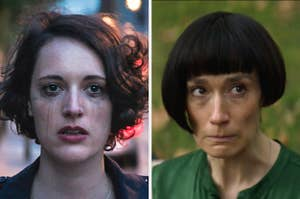 fleabag crying next to an image of claire with her mouth in a line, eyes wide