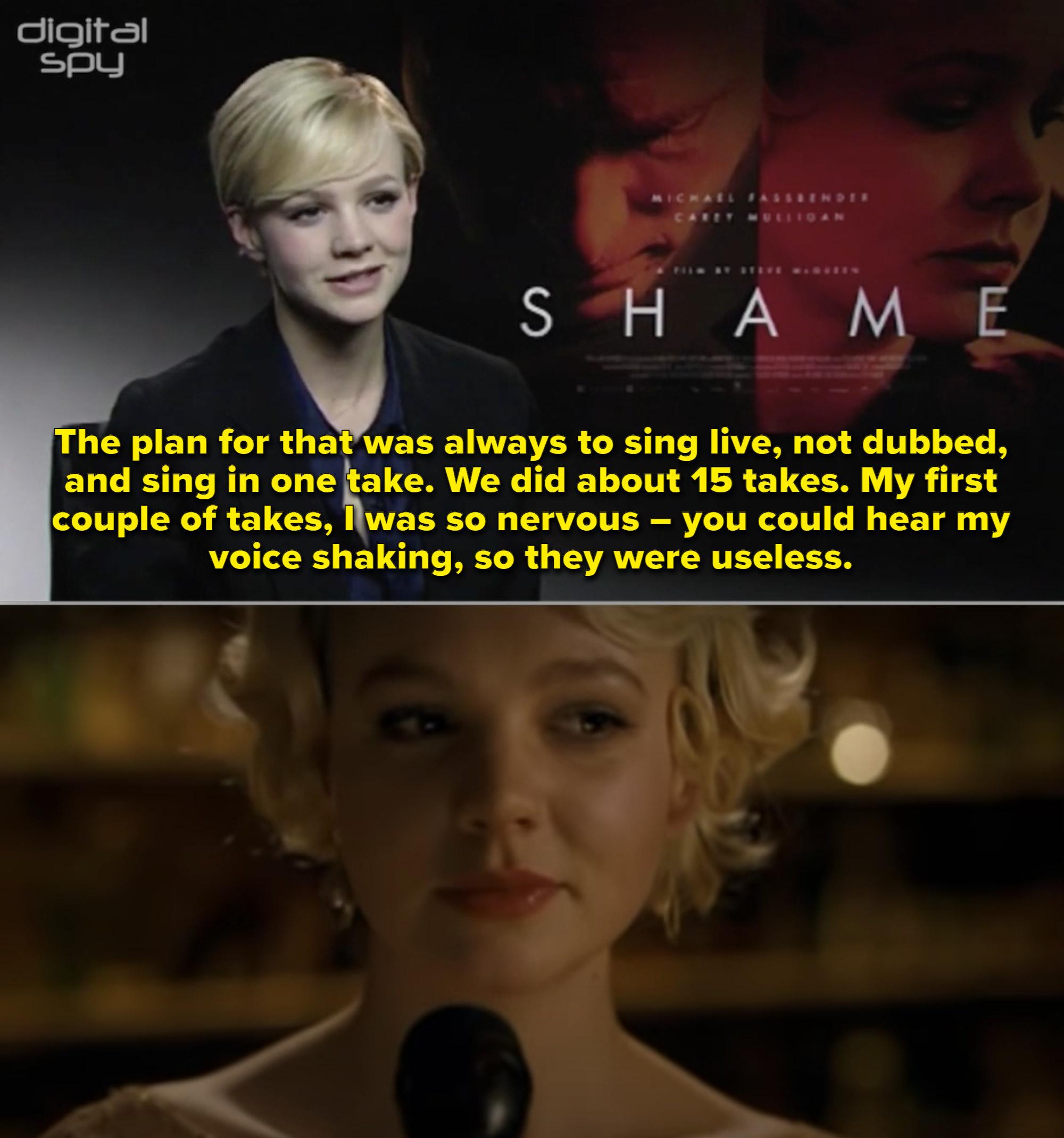"Carey Mulligan singing at a bar in ""Shame"""