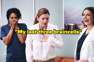 Maggie covering her mouth with both hands, Meredith holding her chest, and Amelia laughing with caption