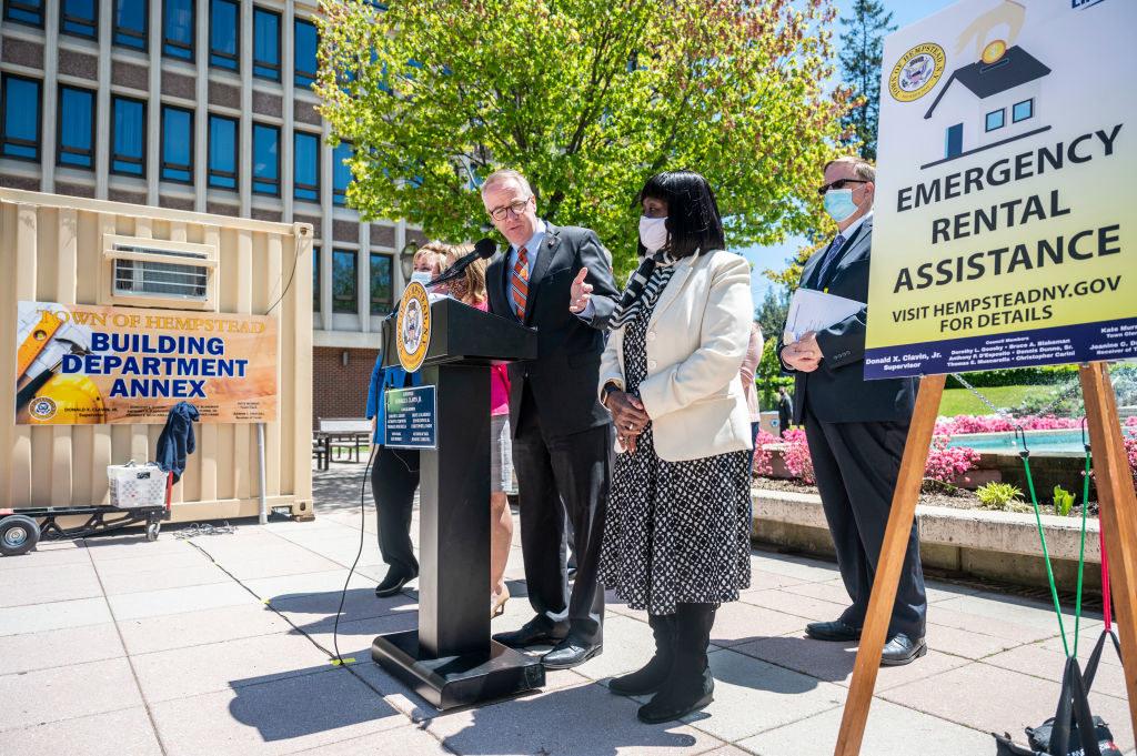 Local politician announcing emergency rental assistance program in Hempstead, New York