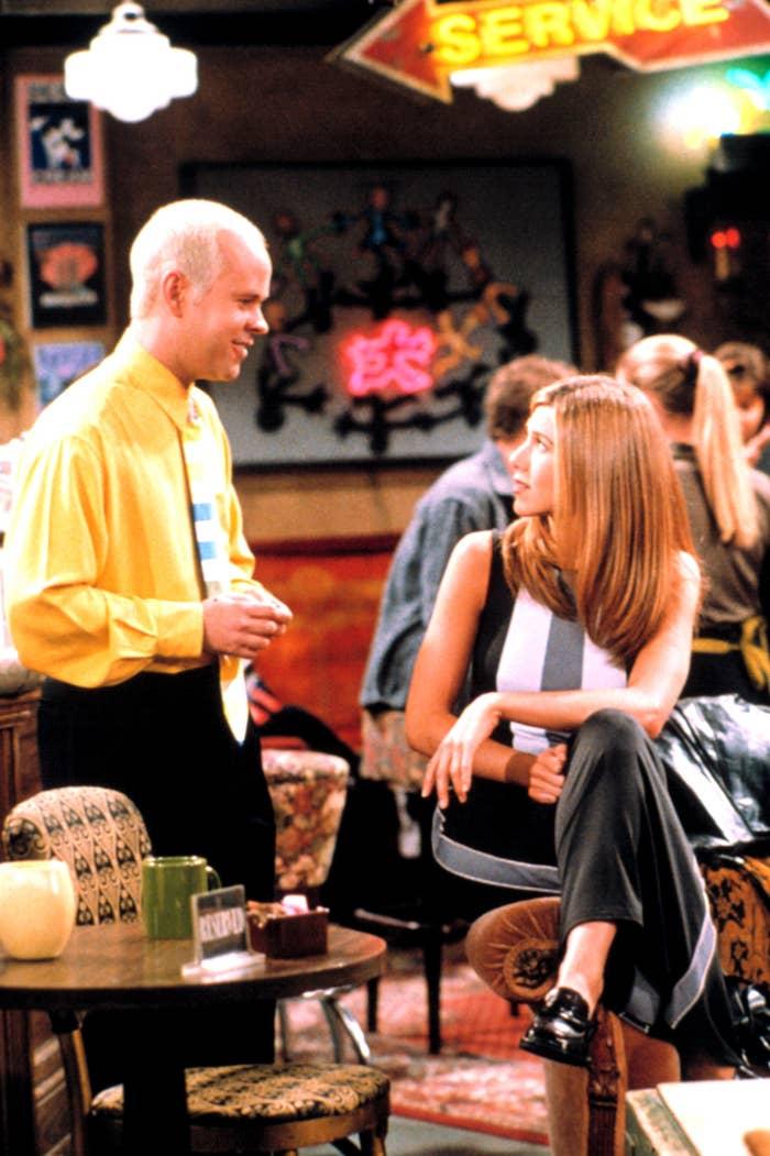 Gunther talking to Rachel Green in Central Perk