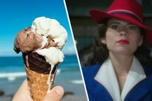 A hand holds a waffle cone filled with melting ice cream and a close up of Peggy Carter wearing a colorful fedora