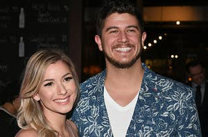 Amber Pike and Matt Barnett are pictured at a screening of Love Is Blind