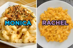 On the left, some mac and cheese topped with bread crumbs labeled