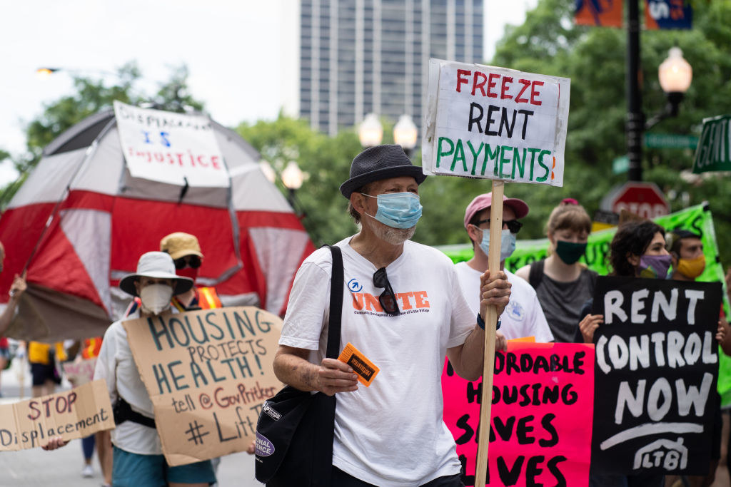 Protesters marching for rent control in Chicago