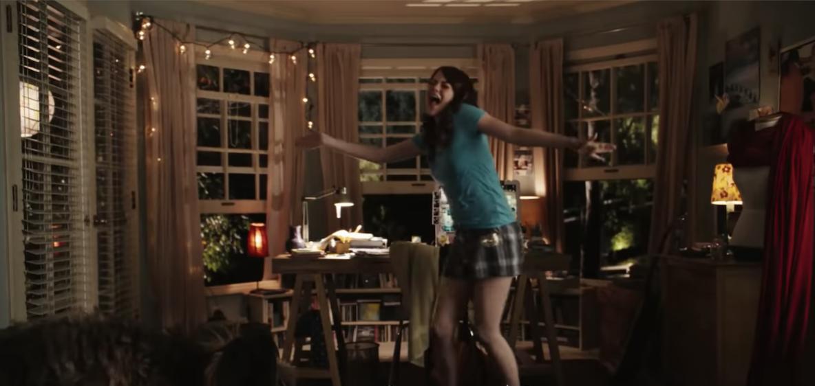 Olive dances in her bedroom
