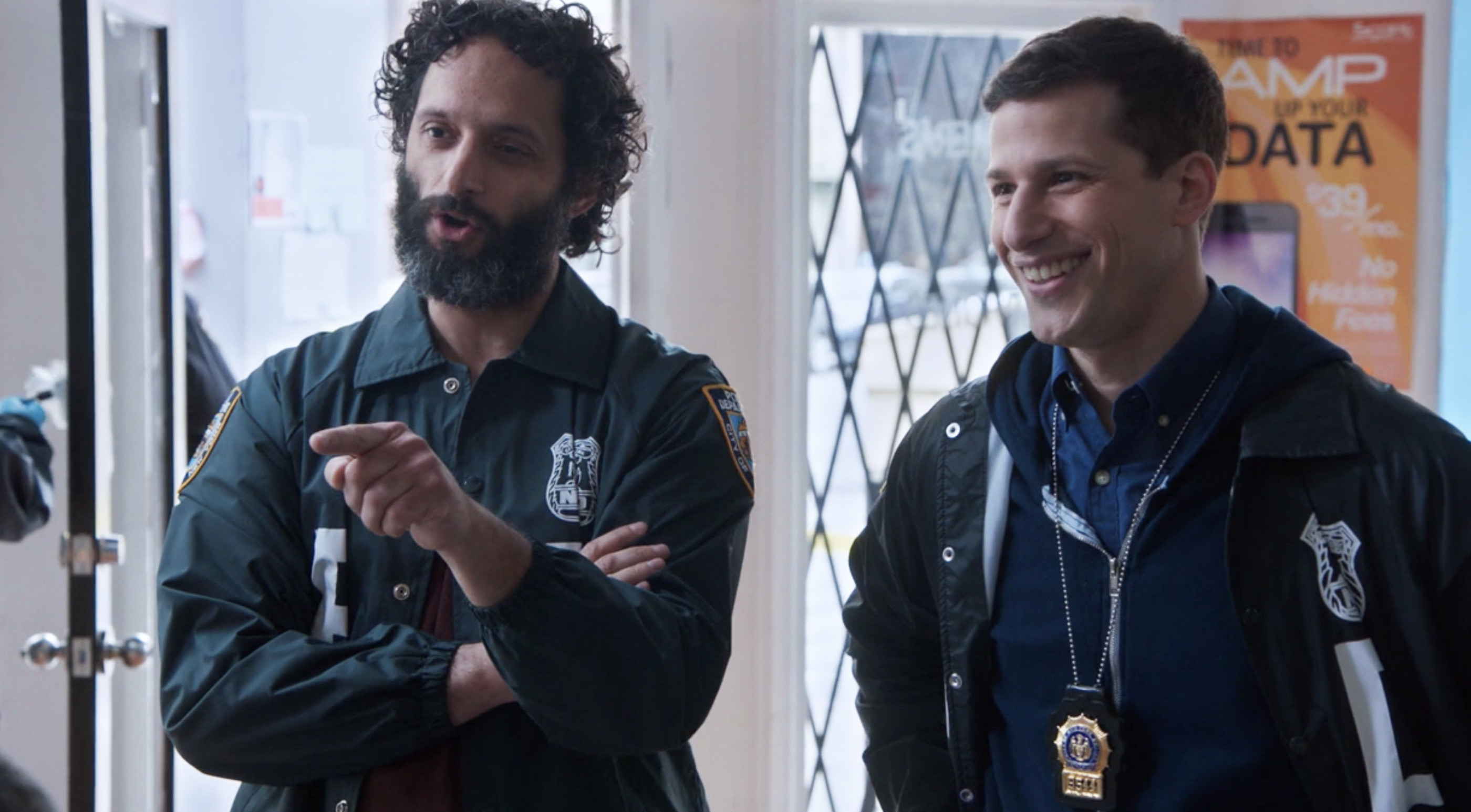 Jason Mantzoukas and Andy Samberg on Brooklyn Nine Nine