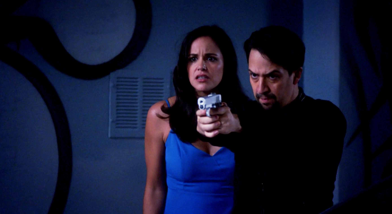 Melissa Fumero and Lin-Manuel Miranda on Brooklyn Nine Nine