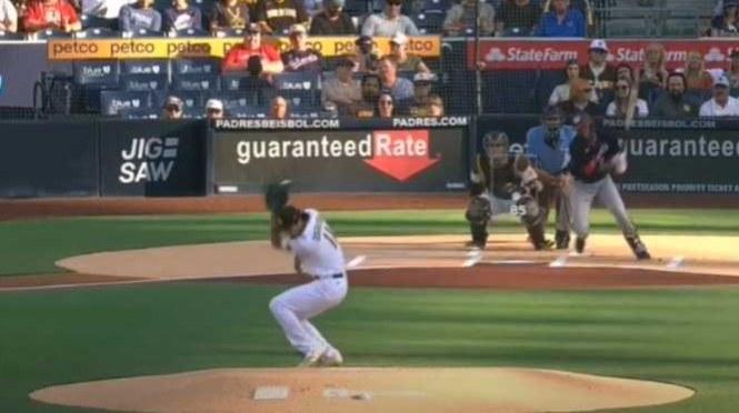 Yu Darvish makes catch toward his head