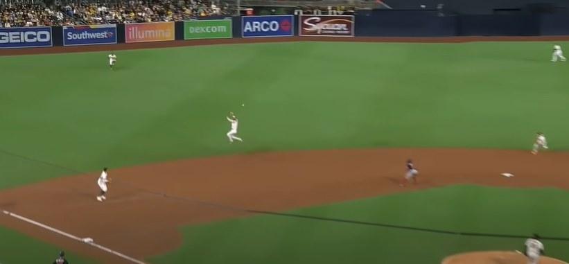 Fernando Tatis Jr. jumps for line drive ball
