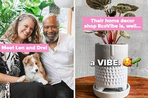 two images that show a married couple on the left and a product from their EcoVibe home decor shop on the right which is a cement planter with a smiley face engraved in it