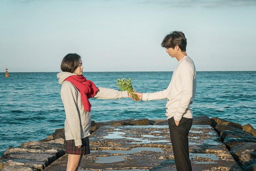 Woman handing man flowers