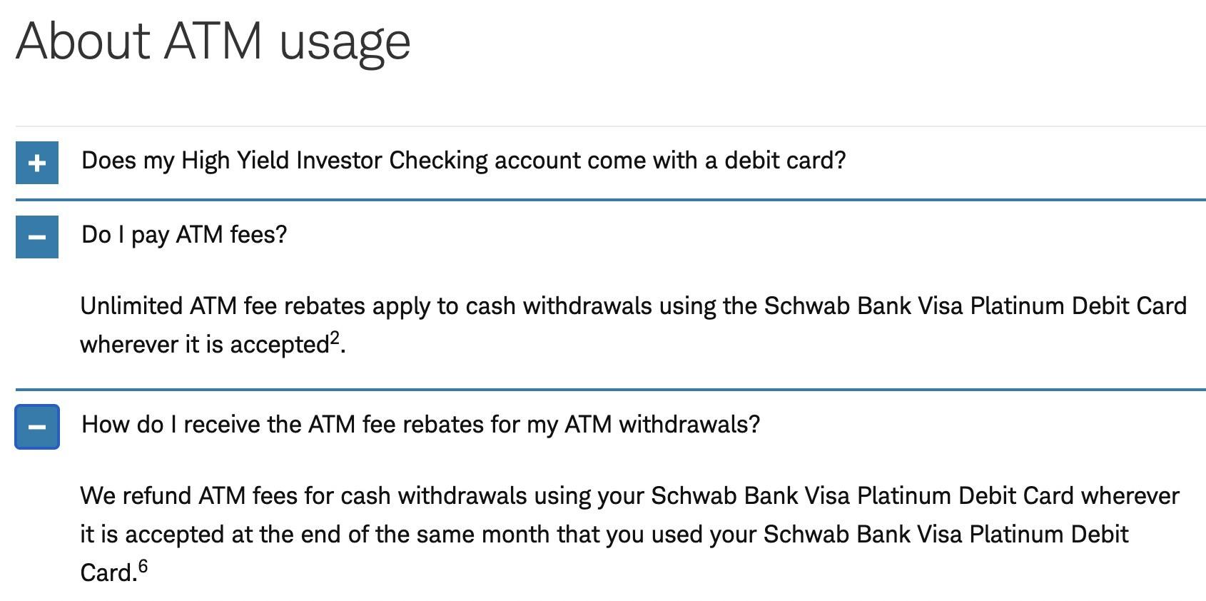 Screenshot of ATM policy at Charles Schwab