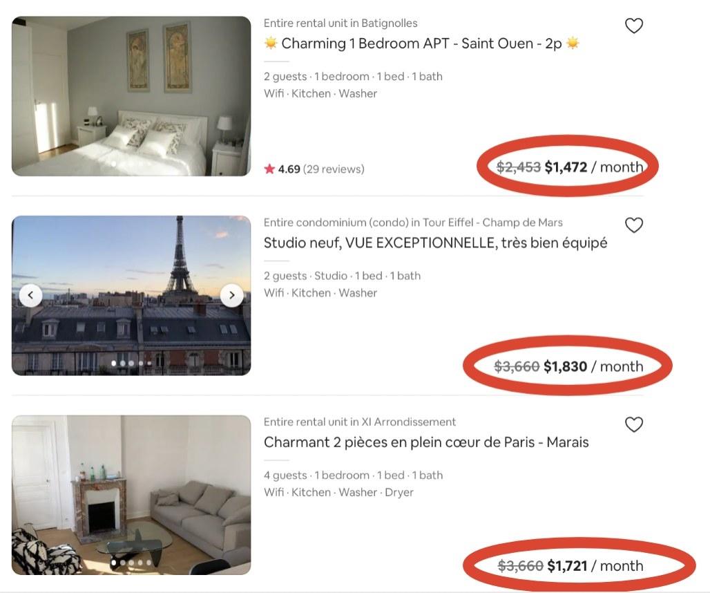 Screenshot of monthly rentals in Paris