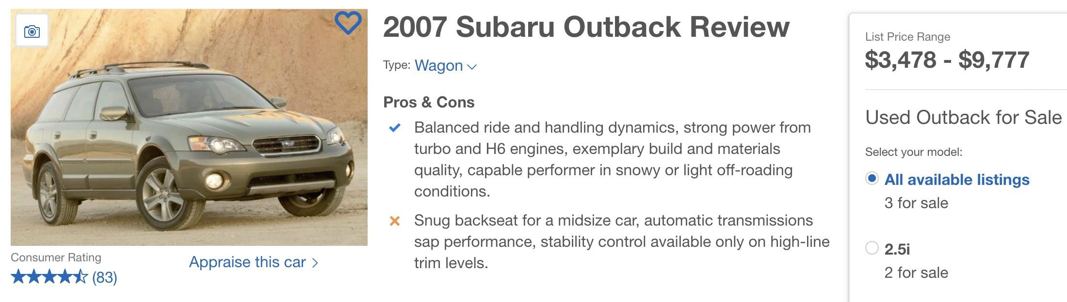 Screenshot of a Subaru Outback