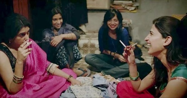 The four ladies of lipstick under my burkha sit in a circle and laugh and smoke cigarettes